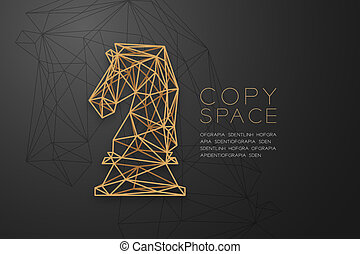Chess Knight wireframe Polygon golden frame structure, Business strategy concept design illustration isolated on black gradient background with copy space, vector eps 10