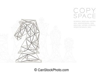 Chess Knight wireframe Polygon silver frame structure, Business strategy concept design illustration isolated on black gradient background with copy space, vector eps 10