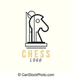 Chess logo, design element for tournament, championship, chess club, business card vector Illustration
