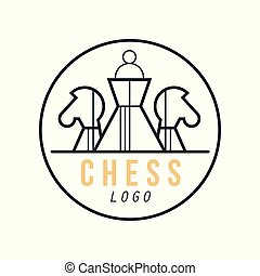 Chess logo, design element for tournament, sports club, business card vector Illustration