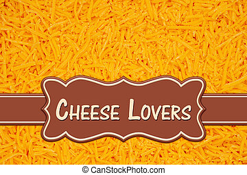 Chess lovers message on banner on shredded cheddar cheese in pile