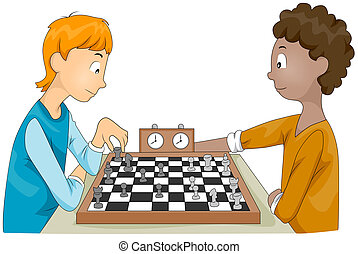 Chess Match - Illustration of a Pair of Teenagers Having a...