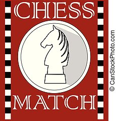 Chess match flyer with knight piece in circle shape, monochrome drawing on dark red background. Poster, bill, book cover template with chess theme