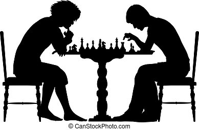 Chess match - Editable vector silhouettes of two men playing...