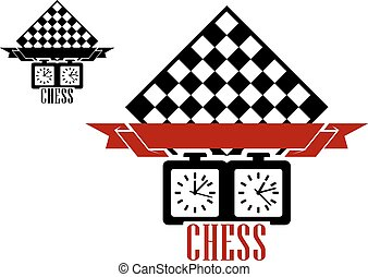 Chess match logo with chess board and clock