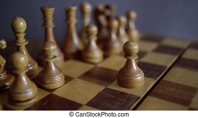 chess match started - pan and slide footage with focus on...