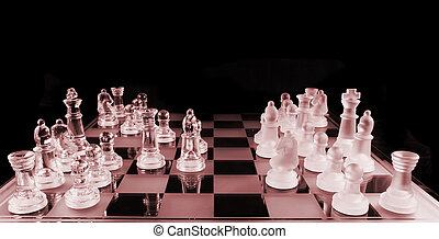 Chess - Mid Game - Glass Chess Pieces on a Frosted Glass...
