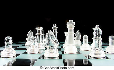 Chess - My Move I think - Glass Chess Pieces on a Frosted...