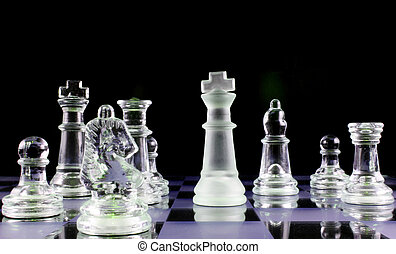 Chess - Never give up - Glass Chess Pieces on a Frosted...