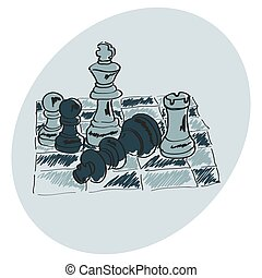 ??????? - Chess on a chessboard. Blue pattern. Doodle. Hand...