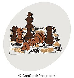??????? - Chess on a chessboard. Brown pattern. Doodle. Hand...