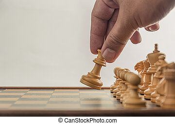 Chess on board with hand , white background
