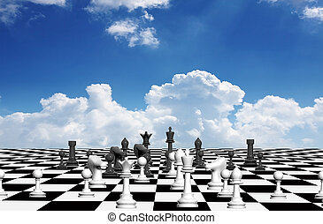 Chess opening, french defense on abstract chessboard