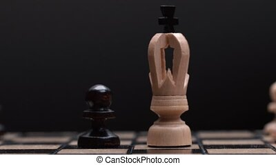 chess closeup, wooden chess board, business concept, black...