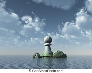 chess pawn at the ocean under cloudy sky - 3d illustration