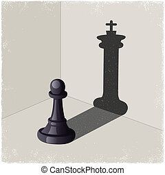 Chess pawn casting a king piece shadow