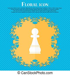 Chess Pawn icon. Floral flat design on a blue abstract background with place for your text. Vector