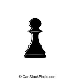 Chess pawn outline - Black chess pawn isolated on white...