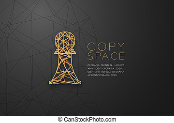 Chess Pawn wireframe Polygon golden frame structure, Business strategy concept design illustration isolated on black gradient background with copy space, vector eps 10