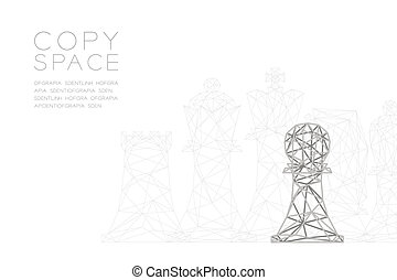 Chess Pawn wireframe Polygon silver frame structure, Business strategy concept design illustration isolated on black gradient background with copy space, vector eps 10
