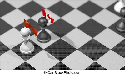 """Chess Pawn with country flag, China, Canada."""