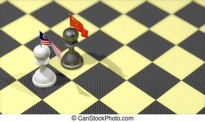 """Chess Pawn with country flag, China, Malaysia"""