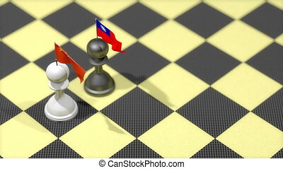 """Chess Pawn with country flag, China, Taiwan."""