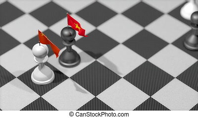 """Chess Pawn with country flag, China, Vietnam."""