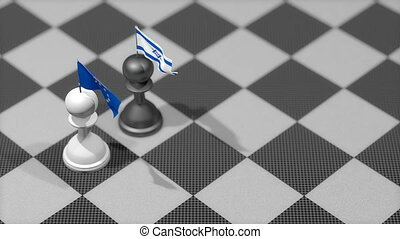 """Chess Pawn with country flag, European Union, Israel."""