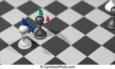 """Chess Pawn with country flag, European Union, Italy."""