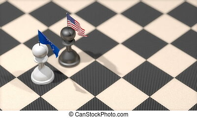 """Chess Pawn with country flag, European Union, United States."""