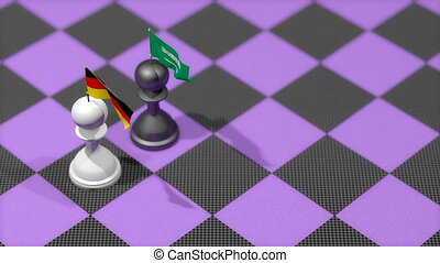"""Chess Pawn with country flag, Germany, Saudi Arabia."""