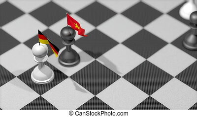 """Chess Pawn with country flag, Germany, Vietnam."""