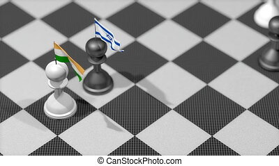 """Chess Pawn with country flag, India, Israel."""