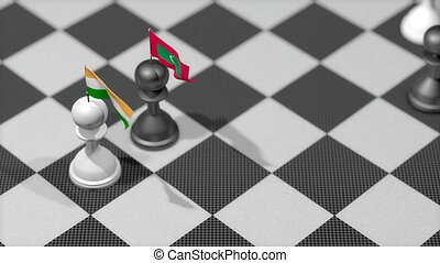 """Chess Pawn with country flag, India, Maldives."""