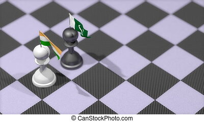 """Chess Pawn with country flag, India, Pakistan"""