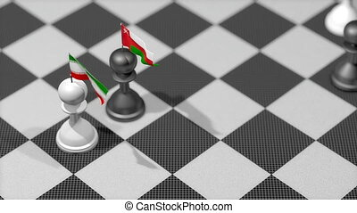 """Chess Pawn with country flag, Iran, Oman."""