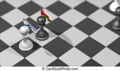 """Chess Pawn with country flag, Israel, Oman."""
