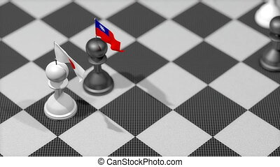 """Chess Pawn with country flag, Japan, Taiwan."""