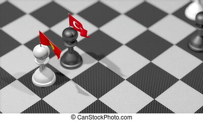 """Chess Pawn with country flag, Kyrgyzstan, Turkey."""