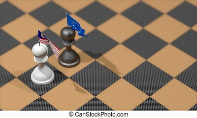 """Chess Pawn with country flag, Malaysia, European Union."""