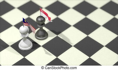 """Chess Pawn with country flag, Malaysia, Singapore."""