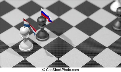 """Chess Pawn with country flag, Netherland, Russia."""