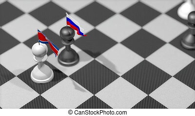 """Chess Pawn with country flag, North Korea, Russia."""