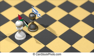 """Chess Pawn with country flag, Palestine, Israel."""