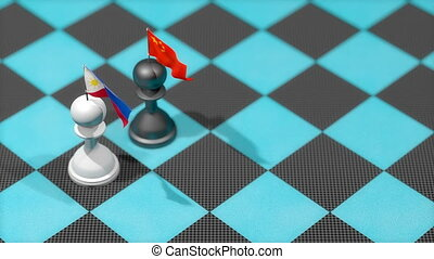 """Chess Pawn with country flag, Philippine, China."""