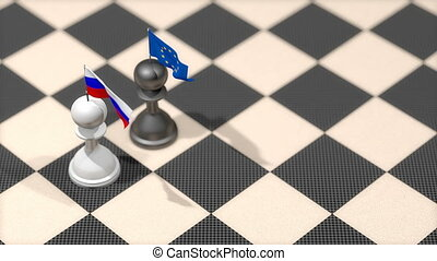 """Chess Pawn with country flag, Russia, European Union."""