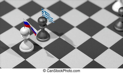 """Chess Pawn with country flag, Russia, Greece."""