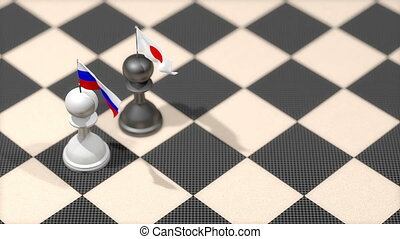 """Chess Pawn with country flag, Russia, Japan."""