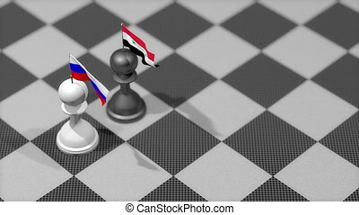 """Chess Pawn with country flag, Russia, Syria."""